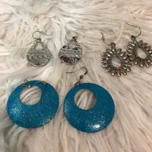 3 Pairs Of Dangle Earrings